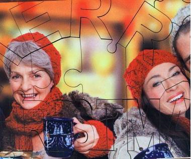 Frohe Weihnachten Holz Fotopuzzle