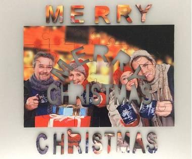 Merry Christmas wooden photo jigsaw puzzle
