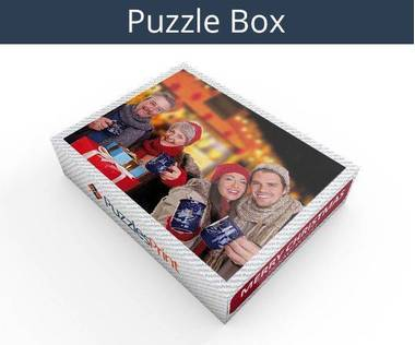 Merry Christmas wooden photo jigsaw puzzle box